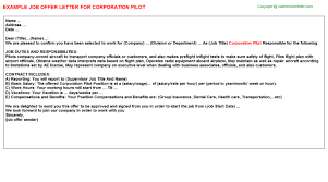company offer letter template corporation pilot offer letter