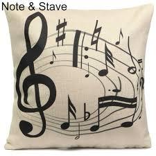 music note linen cotton throw pillow case cushion cover home decor
