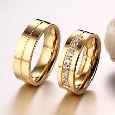 korean wedding rings korean new titanium steel inlaid cubic zirconia golden