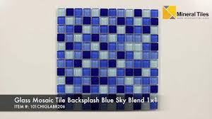glass mosaic tile backsplash blue sky blend 1x1 101chiglabr206