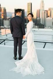 plain wedding dresses 34 sleeve wedding dresses for fall and winter weddings
