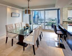 modern white dining room table six black leather backrest dining chair white modern dining room