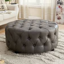 round leather tufted ottoman found it at wayfair bowie leather tufted round ottoman coffee