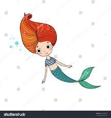 beautiful cute cartoon mermaid long hair stock vector 494185999