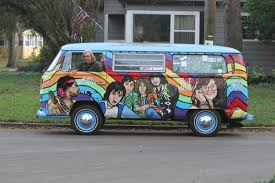 volkswagen bus painting portraits of led zeppelin and jimi hendrix decorate 1970 vw bus