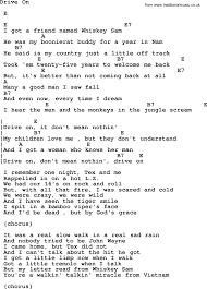 johnny cash song drive on lyrics and chords