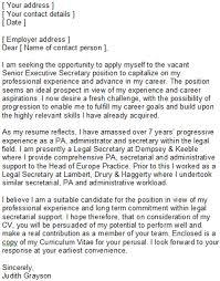 secretary cover letter example