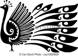 clip art of peacock design simple black and white line drawing