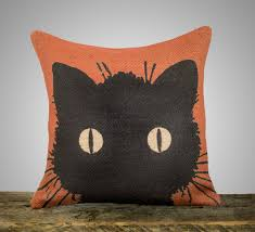black cat pillow halloween decoration orange burlap throw pillow