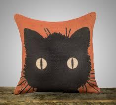 black cat pillow halloween decoration orange burlap throw