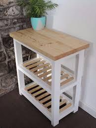 handmade solid wood butchers block kitchen island trolley in