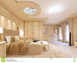 luxurious bedroom in pastel colours in a neoclassical style stock