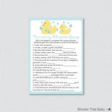 rubber ducky nursery rhyme quiz baby shower game in blue