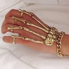 skull hand bracelet images Punk rock skeleton hand bone ring bracelet accessories jpg