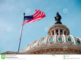 Washington Dc Flag Us Flag And Capitol Building Washington Dc Stock Photo Image