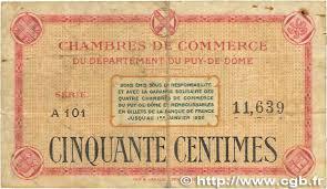 chambre de commerce puy de dome 50 centimes regionalism and miscellaneous puy de dôme 1918