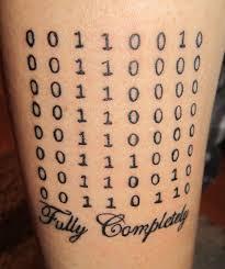 binary geek tattoo on bicep