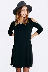 black off the shoulder long sleeve casual dress emmacloth women