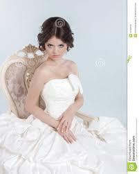 beautiful bride model wearing in wedding dress with volumin