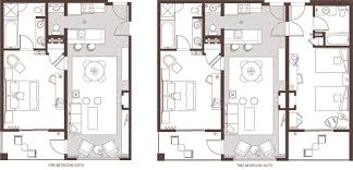 luxury hotel rooms suites accommodations marina grand resort graphic floor plan showing one bedroom and two bedroom hotel suites