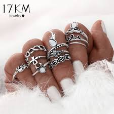ring sets 17km 10pcs set gold color flower midi ring sets for women silver