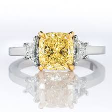 fancy yellow diamond engagement rings fancy yellow diamond ring cushion 2 12 carat si2 naturally