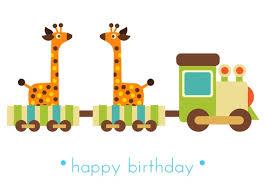 greeting card happy birthday animal train
