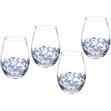 spode blue italian stemless wine glass set of 4 louis potts