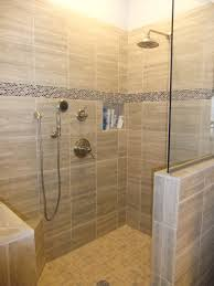bathroom walk in shower ideas with tile flooring plus glass