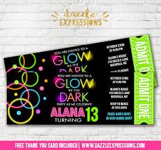 printable glow in the dark ticket birthday invitation disco