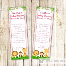 jungle bookmark favor baby boy shower blue u2013 pink the cat