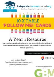 Multiplication Tables Pdf by Multiplication U0027follow Me U0027 Cards By Calderwood1 Teaching
