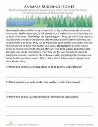 animals building homes worksheets reading comprehension