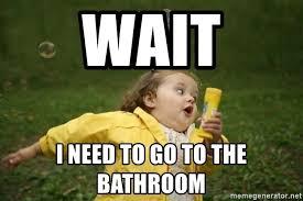 Meme Running - wait i need to go to the bathroom little girl running away