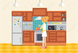 cuisine dessin animé femme ou fille cuisine dîner femme au foyer prépare la