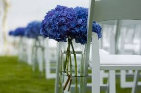 Aisle Markers Blue White Aisle Markers Bouquet Chairs Outdoor Ceremony Wedding