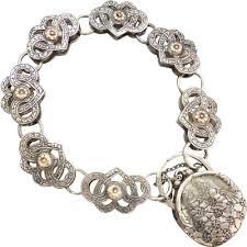 sterling silver hearts bracelet images Beryl lane vintage sterling silver 9ct rose gold engraved png