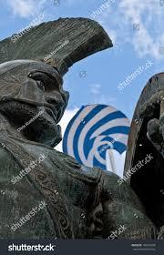 Greek Flag Background King Leonidas Statue Greek Flag Background Stock Photo 102947600