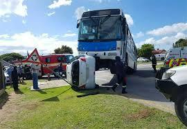 amazing escape as bus lands on car heraldlive