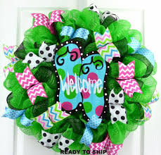 flip flop summer door mesh wreath lime green turquoise pink