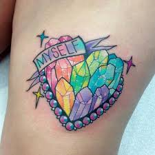 colourful rainbow crystal cluster tattoos tattoodo