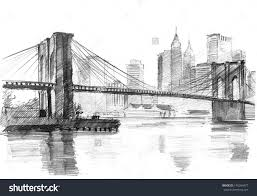 pencil drawing of a landscape with set skyscrapers and brooklyn