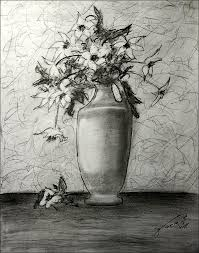 still life vase with white flowers drawing by jose a gonzalez jr