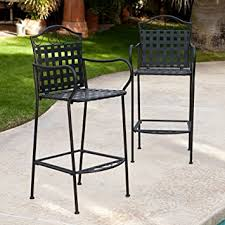 Metal Outdoor Dining Chairs Amazon Com Belham Living Capri Wrought Iron Outdoor Bar Stool By