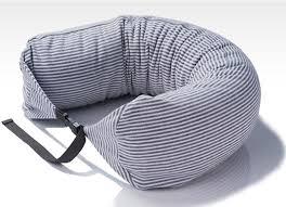 blue and pink stripe filled bean bag pillow u shape column neck