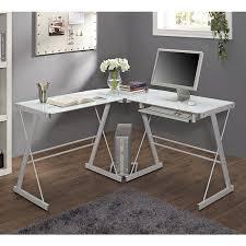 Modern Writing Desks by Walker Edison Furniture Soreno Metal Corner Desk Glass Silver 3