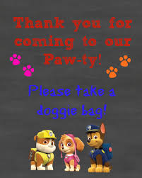 paw patrol birthday party sign 2 pack doggie bags job