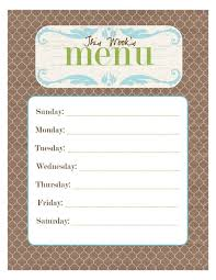 dinner menu template 20 free menu planner printables fab n