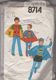 Halloween Costumes 70s Simplicity 8714 1970s Kids Batman Robin Superman Costume