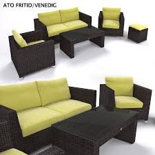 Artificial Wicker Patio Furniture by Garden Furniture Synthetic Rattan Set Ato Venedig 3d Model Max